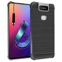 """Asus Zenfone 6 ZS630KL 6.4""""/ Zenfone 6z/ Zenfone 6 2019/ ASUS_I01WD: Coque Housse Silicone Souple en Fibre de Carbone Brossé motif TPU Case + mini Stylet - NOIR"""