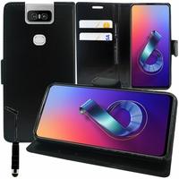 """Asus Zenfone 6 ZS630KL 6.4""""/ Zenfone 6z/ Zenfone 6 2019/ ASUS_I01WD: Accessoire Etui portefeuille Livre Housse Coque Pochette support vidéo cuir PU + mini Stylet - NOIR"""
