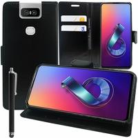 """Asus Zenfone 6 ZS630KL 6.4""""/ Zenfone 6z/ Zenfone 6 2019/ ASUS_I01WD: Accessoire Etui portefeuille Livre Housse Coque Pochette support vidéo cuir PU + Stylet - NOIR"""
