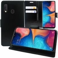 """Samsung Galaxy A20E/ A20e Dual SIM 5.8"""" SM-A202F/ SM-A202F/DS (non compatible Galaxy A20 6.4""""): Accessoire Etui portefeuille Livre Housse Coque Pochette support vidéo cuir PU - NOIR"""