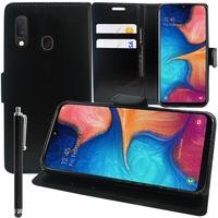 """Samsung Galaxy A20E/ A20e Dual SIM 5.8"""" SM-A202F/ SM-A202F/DS (non compatible Galaxy A20 6.4""""): Accessoire Etui portefeuille Livre Housse Coque Pochette support vidéo cuir PU + Stylet - NOIR"""