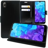 """Huawei Y5 (2019) 5.71"""" AMN-LX1/ AMN-LX2/ AMN-LX3/ AMN-LX9 [Les Dimensions EXACTES du telephone: 147.1 x 70.8 x 8.5 mm]: Accessoire Etui portefeuille Livre Housse Coque Pochette support vidéo cuir PU - NOIR"""