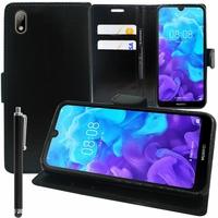 """Huawei Y5 (2019) 5.71"""" AMN-LX1/ AMN-LX2/ AMN-LX3/ AMN-LX9 [Les Dimensions EXACTES du telephone: 147.1 x 70.8 x 8.5 mm]: Accessoire Etui portefeuille Livre Housse Coque Pochette support vidéo cuir PU + Stylet - NOIR"""