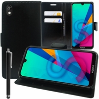 "Huawei Honor 8S 5.71"" KSE-LX9 (non compatible Honor 8 5.2"") [Les Dimensions EXACTES du telephone: 147.1 x 70.8 x 8.5 mm]: Accessoire Etui portefeuille Livre Housse Coque Pochette support vidéo cuir PU + Stylet - NOIR"