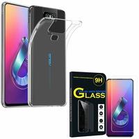 """Asus Zenfone 6 ZS630KL 6.4""""/ Zenfone 6z/ Zenfone 6 2019/ ASUS_I01WD: Etui Housse Pochette Accessoires Coque gel UltraSlim - TRANSPARENT + 1 Film de protection d'écran Verre Trempé"""