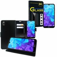"""Huawei Y5 (2019) 5.71"""" AMN-LX1/ AMN-LX2/ AMN-LX3/ AMN-LX9: Etui Coque Housse Pochette Accessoires portefeuille support video cuir PU - NOIR + 1 Film de protection d'écran Verre Trempé"""