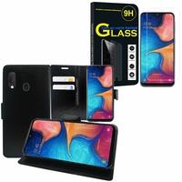 """Samsung Galaxy A20E/ A20e Dual SIM 5.8"""" SM-A202F/ SM-A202F/DS: Etui Coque Housse Pochette Accessoires portefeuille support video cuir PU - NOIR + 1 Film de protection d'écran Verre Trempé"""