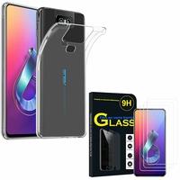 """Asus Zenfone 6 ZS630KL 6.4""""/ Zenfone 6z/ Zenfone 6 2019/ ASUS_I01WD: Etui Housse Pochette Accessoires Coque gel UltraSlim - TRANSPARENT + 3 Films de protection d'écran Verre Trempé"""