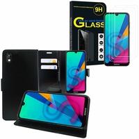 """Huawei Honor 8S 5.71"""" KSE-LX9: Etui Coque Housse Pochette Accessoires portefeuille support video cuir PU - NOIR + 3 Films de protection d'écran Verre Trempé"""
