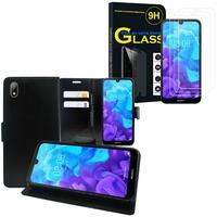 """Huawei Y5 (2019) 5.71"""" AMN-LX1/ AMN-LX2/ AMN-LX3/ AMN-LX9: Etui Coque Housse Pochette Accessoires portefeuille support video cuir PU - NOIR + 3 Films de protection d'écran Verre Trempé"""