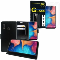 """Samsung Galaxy A20E/ A20e Dual SIM 5.8"""" SM-A202F/ SM-A202F/DS: Etui Coque Housse Pochette Accessoires portefeuille support video cuir PU - NOIR + 3 Films de protection d'écran Verre Trempé"""