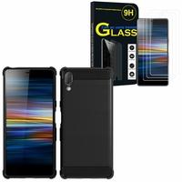 "Sony Xperia L3 5.7"" I3312 I4312 I4332 I3322: Coque Housse Silicone Souple en Fibre de Carbone Brossé motif TPU Case - NOIR + 3 Films de protection d'écran Verre Trempé"