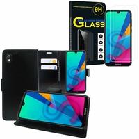 """Huawei Honor 8S 5.71"""" KSE-LX9: Etui Coque Housse Pochette Accessoires portefeuille support video cuir PU - NOIR + 2 Films de protection d'écran Verre Trempé"""