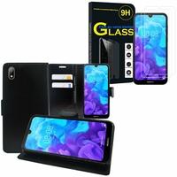 """Huawei Y5 (2019) 5.71"""" AMN-LX1/ AMN-LX2/ AMN-LX3/ AMN-LX9: Etui Coque Housse Pochette Accessoires portefeuille support video cuir PU - NOIR + 2 Films de protection d'écran Verre Trempé"""