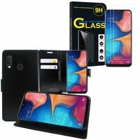 """Samsung Galaxy A20E/ A20e Dual SIM 5.8"""" SM-A202F/ SM-A202F/DS: Etui Coque Housse Pochette Accessoires portefeuille support video cuir PU - NOIR + 2 Films de protection d'écran Verre Trempé"""