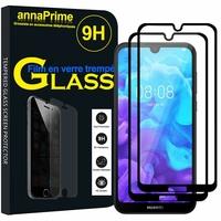 """Huawei Y5 (2019) 5.71"""" AMN-LX1/ AMN-LX2/ AMN-LX3/ AMN-LX9 [Les Dimensions EXACTES du telephone: 147.1 x 70.8 x 8.5 mm]: Lot / Pack de 2 Films de protection d'écran Verre Trempé"""