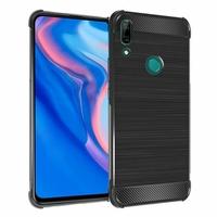 """Huawei P Smart Z (2019) 6.59"""" (non compatible Huawei P smart 2017 5.65""""/ P Smart Plus 2019 6.21""""/ P Smart (2019) 6.21""""): Coque Housse Silicone Souple en Fibre de Carbone Brossé motif TPU Case - NOIR"""