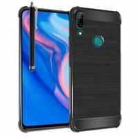 """Huawei P Smart Z (2019) 6.59"""" (non compatible Huawei P smart 2017 5.65""""/ P Smart Plus 2019 6.21""""/ P Smart (2019) 6.21""""): Coque Housse Silicone Souple en Fibre de Carbone Brossé motif TPU Case + Stylet - NOIR"""