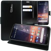 """Nokia 3.2 (2019) 6.26"""" [Les Dimensions EXACTES du telephone: 159.4 x 76.2 x 8.6 mm]: Accessoire Etui portefeuille Livre Housse Coque Pochette support vidéo cuir PU - NOIR"""