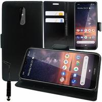 """Nokia 3.2 (2019) 6.26"""" [Les Dimensions EXACTES du telephone: 159.4 x 76.2 x 8.6 mm]: Accessoire Etui portefeuille Livre Housse Coque Pochette support vidéo cuir PU + mini Stylet - NOIR"""