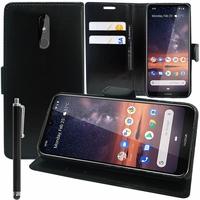 """Nokia 3.2 (2019) 6.26"""" [Les Dimensions EXACTES du telephone: 159.4 x 76.2 x 8.6 mm]: Accessoire Etui portefeuille Livre Housse Coque Pochette support vidéo cuir PU + Stylet - NOIR"""