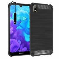 """Huawei Y5 (2019) 5.71"""" AMN-LX1/ AMN-LX2/ AMN-LX3/ AMN-LX9 [Les Dimensions EXACTES du telephone: 147.1 x 70.8 x 8.5 mm]: Coque Housse Silicone Souple en Fibre de Carbone Brossé motif TPU Case + mini Stylet - NOIR"""