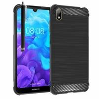 """Huawei Y5 (2019) 5.71"""" AMN-LX1/ AMN-LX2/ AMN-LX3/ AMN-LX9 [Les Dimensions EXACTES du telephone: 147.1 x 70.8 x 8.5 mm]: Coque Housse Silicone Souple en Fibre de Carbone Brossé motif TPU Case + Stylet - NOIR"""