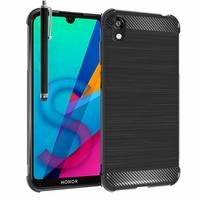 """Huawei Honor 8S 5.71"""" KSE-LX9 (non compatible Honor 8 5.2"""") [Les Dimensions EXACTES du telephone: 147.1 x 70.8 x 8.5 mm]: Coque Housse Silicone Souple en Fibre de Carbone Brossé motif TPU Case + Stylet - NOIR"""