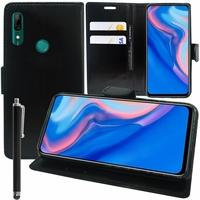 """Huawei P Smart Z (2019) 6.59"""" (non compatible Huawei P smart 2017 5.65""""/ P Smart Plus 2019 6.21""""/ P Smart (2019) 6.21""""): Accessoire Etui portefeuille Livre Housse Coque Pochette support vidéo cuir PU + Stylet - NOIR"""