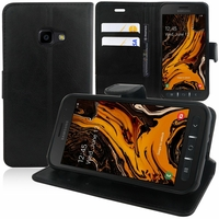 """Samsung Galaxy Xcover 4S SM-G398F SM-G398FN/DS 5.0"""" [Les Dimensions EXACTES du telephone: 146.2 x 73.3 x 9.7 mm]: Accessoire Etui portefeuille Livre Housse Coque Pochette support vidéo cuir PU - NOIR"""