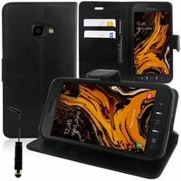 """Samsung Galaxy Xcover 4S SM-G398F SM-G398FN/DS 5.0"""" [Les Dimensions EXACTES du telephone: 146.2 x 73.3 x 9.7 mm]: Accessoire Etui portefeuille Livre Housse Coque Pochette support vidéo cuir PU + mini Stylet - NOIR"""