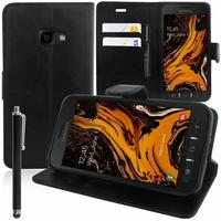 """Samsung Galaxy Xcover 4S SM-G398F SM-G398FN/DS 5.0"""" [Les Dimensions EXACTES du telephone: 146.2 x 73.3 x 9.7 mm]: Accessoire Etui portefeuille Livre Housse Coque Pochette support vidéo cuir PU + Stylet - NOIR"""