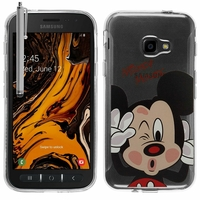 """Samsung Galaxy Xcover 4S SM-G398F SM-G398FN/DS 5.0"""" [Les Dimensions EXACTES du telephone: 146.2 x 73.3 x 9.7 mm]: Coque Housse silicone TPU Transparente Ultra-Fine Dessin animé jolie + Stylet - Mickey Mouse"""