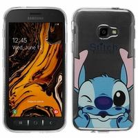 "Samsung Galaxy Xcover 4S SM-G398F SM-G398FN/DS 5.0"" [Les Dimensions EXACTES du telephone: 146.2 x 73.3 x 9.7 mm]: Coque Housse silicone TPU Transparente Ultra-Fine Dessin animé jolie - Stitch"