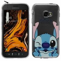 "Samsung Galaxy Xcover 4S SM-G398F SM-G398FN/DS 5.0"" [Les Dimensions EXACTES du telephone: 146.2 x 73.3 x 9.7 mm]: Coque Housse silicone TPU Transparente Ultra-Fine Dessin animé jolie + mini Stylet - Stitch"