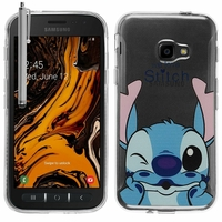 "Samsung Galaxy Xcover 4S SM-G398F SM-G398FN/DS 5.0"" [Les Dimensions EXACTES du telephone: 146.2 x 73.3 x 9.7 mm]: Coque Housse silicone TPU Transparente Ultra-Fine Dessin animé jolie + Stylet - Stitch"