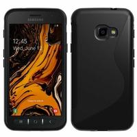 """Samsung Galaxy Xcover 4S SM-G398F SM-G398FN/DS 5.0"""" [Les Dimensions EXACTES du telephone: 146.2 x 73.3 x 9.7 mm]: Accessoire Housse Etui Pochette Coque Silicone Gel motif S Line - NOIR"""
