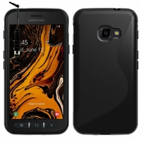 """Samsung Galaxy Xcover 4S SM-G398F SM-G398FN/DS 5.0"""" [Les Dimensions EXACTES du telephone: 146.2 x 73.3 x 9.7 mm]: Accessoire Housse Etui Pochette Coque Silicone Gel motif S Line + mini Stylet - NOIR"""