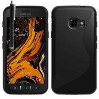 "Samsung Galaxy Xcover 4S SM-G398F SM-G398FN/DS 5.0"" [Les Dimensions EXACTES du telephone: 146.2 x 73.3 x 9.7 mm]: Accessoire Housse Etui Pochette Coque Silicone Gel motif S Line + Stylet - NOIR"