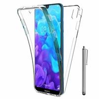 """Huawei Y5 (2019) 5.71"""" AMN-LX1/ AMN-LX2/ AMN-LX3/ AMN-LX9 [Les Dimensions EXACTES du telephone: 147.1 x 70.8 x 8.5 mm]: Coque Housse Silicone Gel TRANSPARENTE ultra mince 360° protection intégrale Avant et Arrière + Stylet - TRANSPARENT"""