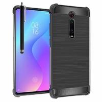 """Xiaomi Redmi K20/ Redmi K20 Pro/ Mi 9T/ Mi 9T Pro 6.39"""" M1903F10I/ M1903F10G/ M1903F11I (non compatible Xiaomi Mi 9 6.39""""/ Mi9 SE 5.97""""): Coque Housse Silicone Souple en Fibre de Carbone Brossé motif TPU Case + Stylet - NOIR"""