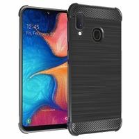 """Samsung Galaxy A20E/ A20e Dual SIM 5.8"""" SM-A202F/ SM-A202F/DS (non compatible Galaxy A20 6.4""""): Coque Housse Silicone Souple en Fibre de Carbone Brossé motif TPU Case - NOIR"""