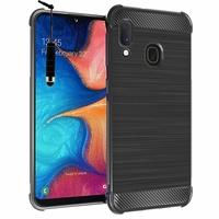 """Samsung Galaxy A20E/ A20e Dual SIM 5.8"""" SM-A202F/ SM-A202F/DS (non compatible Galaxy A20 6.4""""): Coque Housse Silicone Souple en Fibre de Carbone Brossé motif TPU Case + mini Stylet - NOIR"""