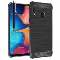 """Samsung Galaxy A20E/ A20e Dual SIM 5.8"""" SM-A202F/ SM-A202F/DS (non compatible Galaxy A20 6.4""""): Coque Housse Silicone Souple en Fibre de Carbone Brossé motif TPU Case + Stylet - NOIR"""