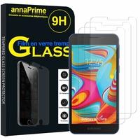 """Samsung Galaxy A2 Core 5.0"""" SM-A260F A260G A260F/DS A260G/DS (non compatible Galaxy A20 6.4""""/ A20E 5.8""""): Lot / Pack de 3 Films de protection d'écran Verre Trempé"""