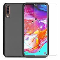 """Samsung Galaxy A70 6.7"""" SM-A705F/ SM-A7050/ SM-A705FN/ SM-A705F/DS [Les Dimensions EXACTES du telephone: 164.3 x 76.7 x 7.9 mm]: Coque de protection intégrale 360° Avant Et Arrière Ultra Mince Ultra Léger avec Verre Trempé pour l'Ecran - NOIR"""