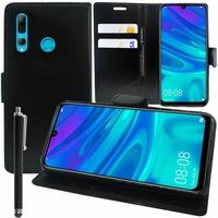 """Huawei P Smart+ (2019)/ P Smart Plus 2019 6.21"""" (non compatible Huawei P smart 5.65"""" (2017)/ P Smart+ (2018) 6.3""""): Accessoire Etui portefeuille Livre Housse Coque Pochette support vidéo cuir PU + Stylet - NOIR"""