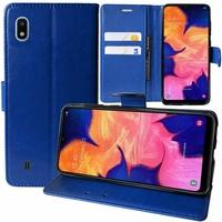 """Samsung Galaxy A10 6.2"""" SM-A105F/ A105F/DS [Les Dimensions EXACTES du telephone: 155.6 x 75.6 x 7.9 mm]: Accessoire Etui portefeuille Livre Housse Coque Pochette support vidéo cuir PU - BLEU FONCE"""