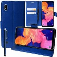 """Samsung Galaxy A10 6.2"""" SM-A105F/ A105F/DS [Les Dimensions EXACTES du telephone: 155.6 x 75.6 x 7.9 mm]: Accessoire Etui portefeuille Livre Housse Coque Pochette support vidéo cuir PU + Stylet - BLEU FONCE"""