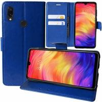 """Xiaomi Redmi Note 7S 6.3"""" M1901F71 [Les Dimensions EXACTES du telephone: 159.2 x 75.2 x 8.1 mm]: Accessoire Etui portefeuille Livre Housse Coque Pochette support vidéo cuir PU - BLEU FONCE"""